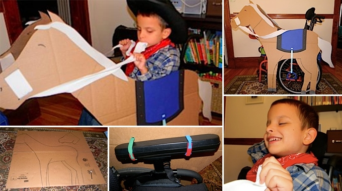 A boy dressed up for Halloween as a cowboy with his wheelchair transformed into a horse made out of cardboard.