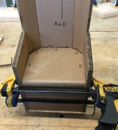 chair all glued with clamps