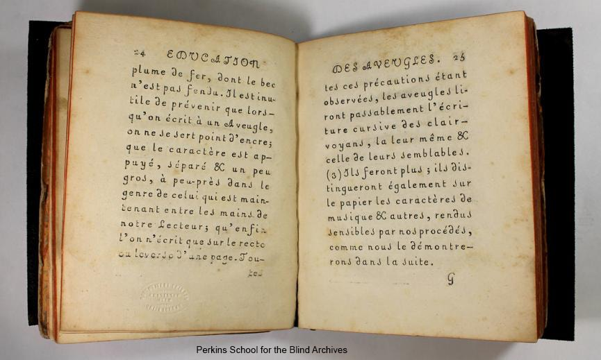 Interior pages of Essay on the Education of the Blind.