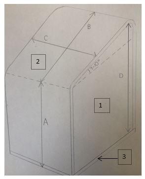 sketch of a labeled wedged seat