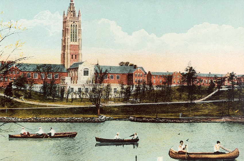 In 1913, the sparsely wooded banks of the Charles River afforded a clear view of Perkins' campus, which had recently relocated to Watertown, Massachusetts.