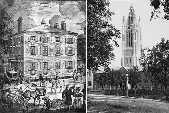 At left, Pearl Street house donated by T.H. Perkins, which housed the school from 1833-1839. Boston, ca. 1830. At right, Howe tower of Perkins' Watertown campus, 1913.