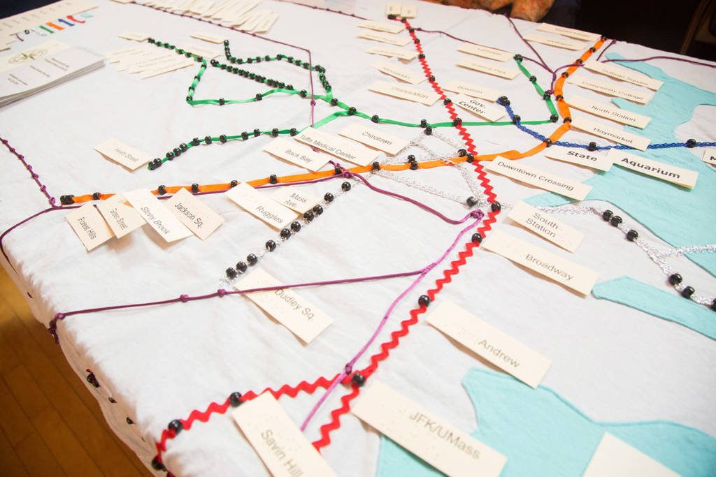 A tactile homemade map of the Boston T.