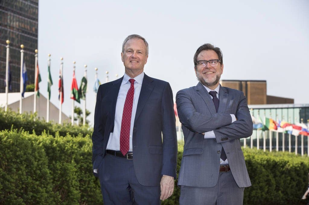 Perkins President and CEO Dave Power and Perkins International Executive Director Michael Delaney outside the United Nations before the launch of Perkins International Academy.