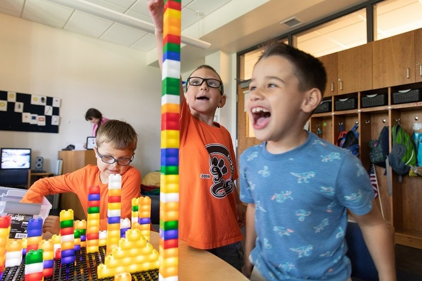 Light-up Legos give students with visual impairment access to daily fun.