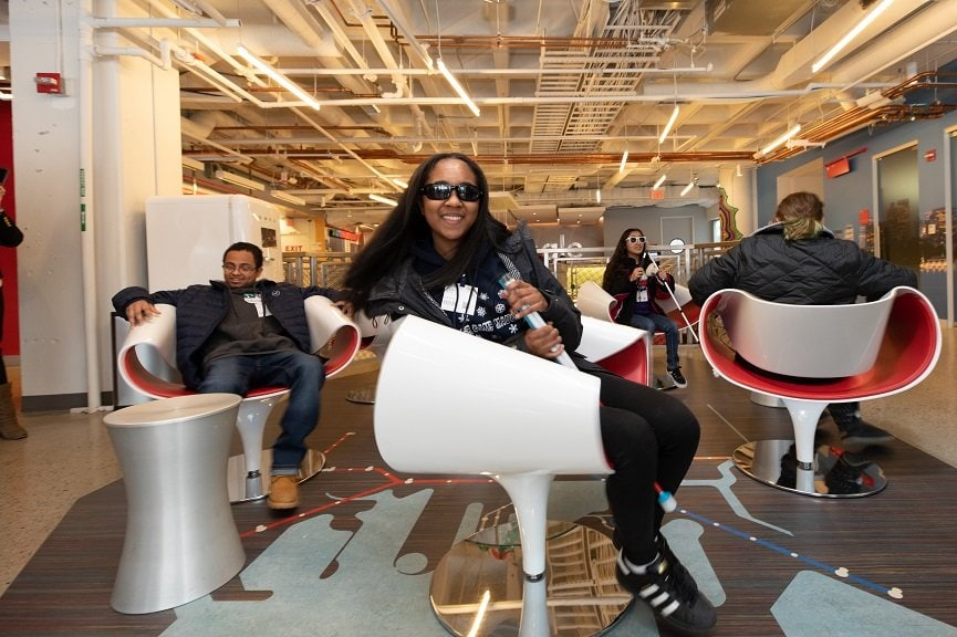 Young adults with visual impairment visited Google's Cambridge office through Perkins' Pre-Employment Program.