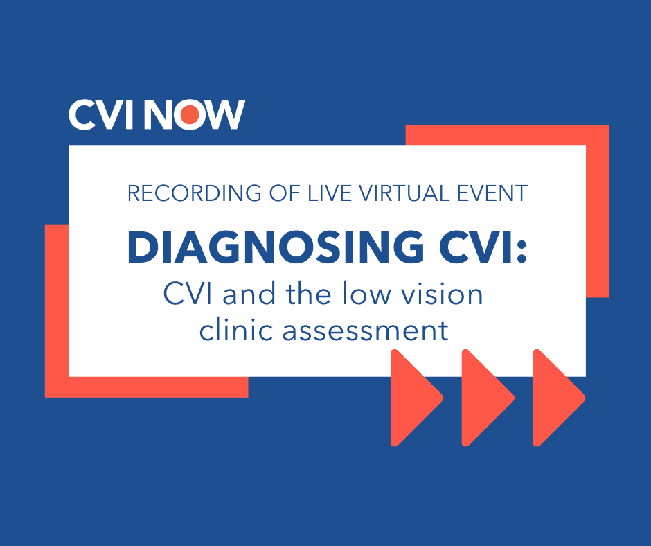 White text block on blue background. Text reads Diagnosing CVI: CVI and the low vision clinic assessment. CVI Now logo