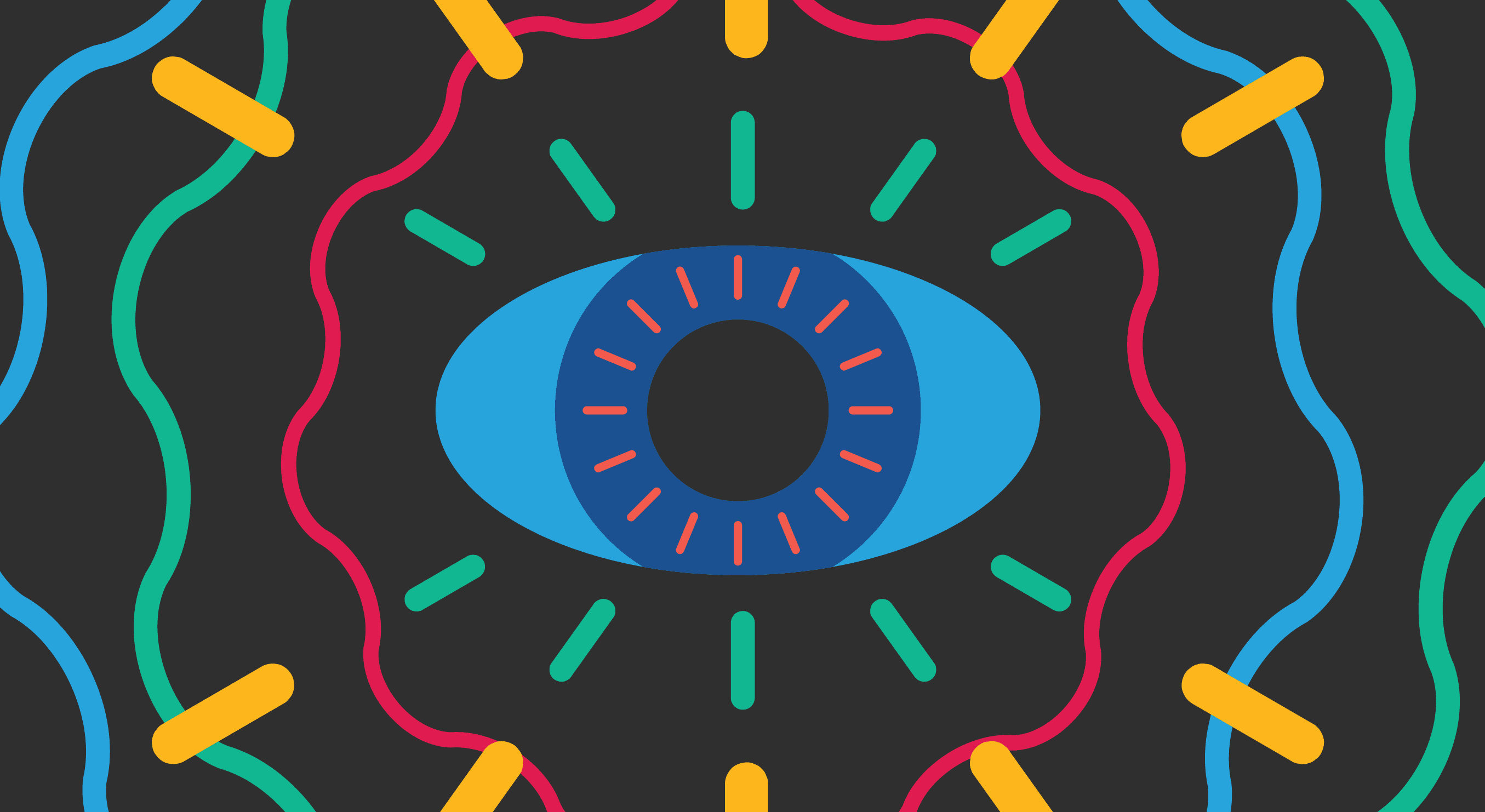Abstract drawing of an eye. Black background with bold, bright colors. CVI Now logo in bottom corner.