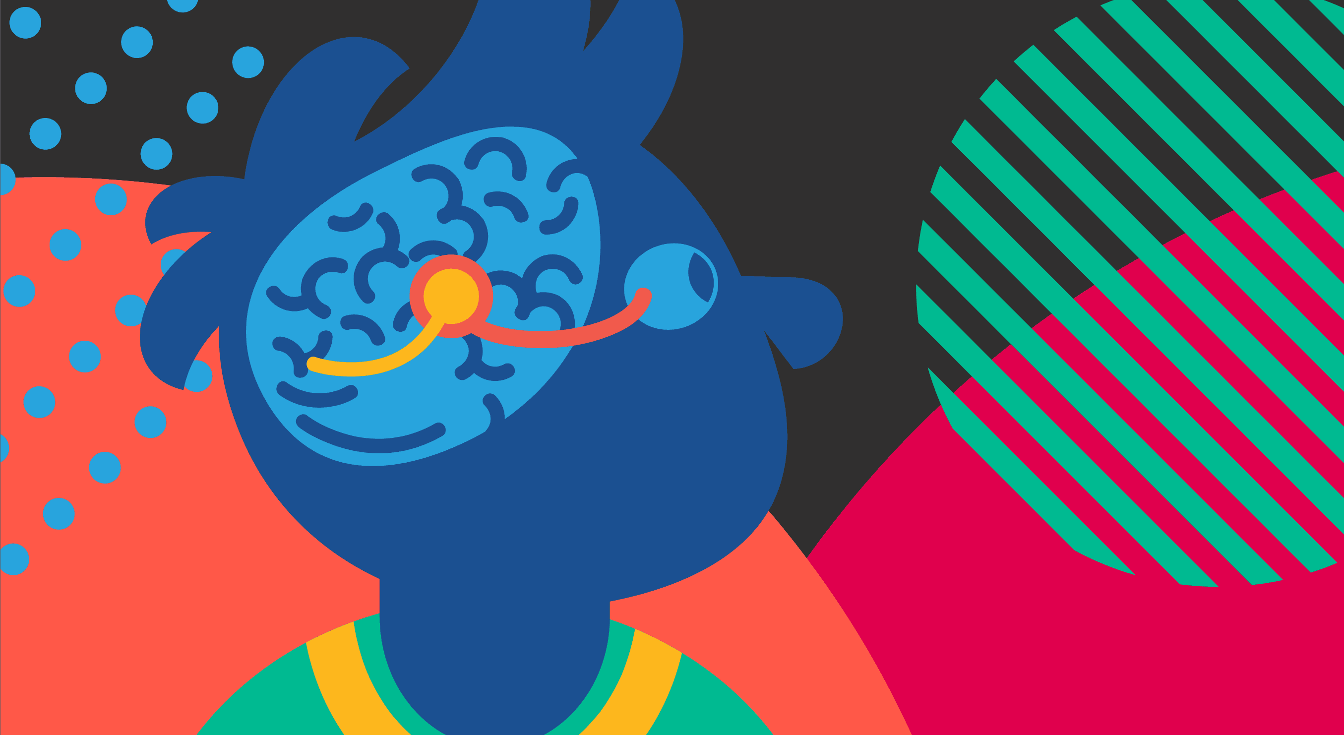 Abstract graphic of child and a brain with an orange line showing the visual pathway from the eye to the back of the brain