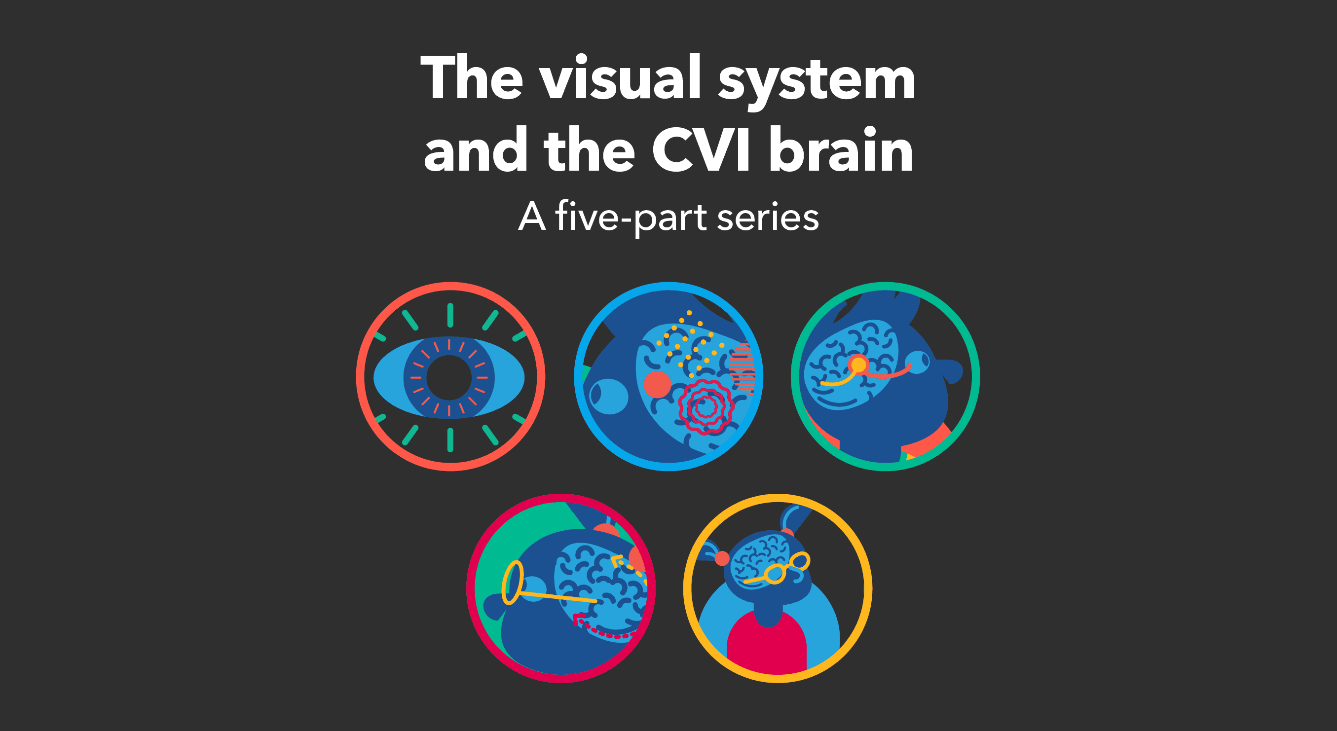 White text on a black background: The visual system and the CVI brain, a five-part series. With images of the brain and eye.