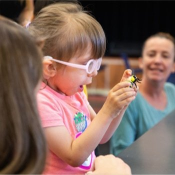 A little girl holding a plastic bee in awe