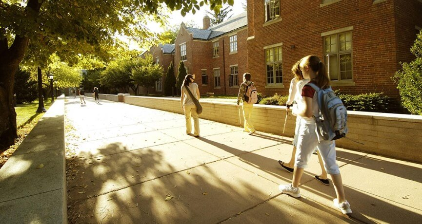 Students walking to class on a fall day