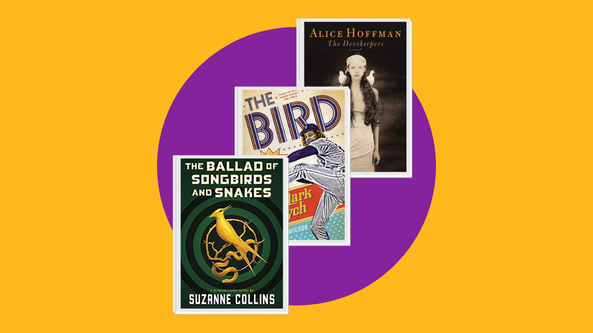 three book covers of books with bird titles