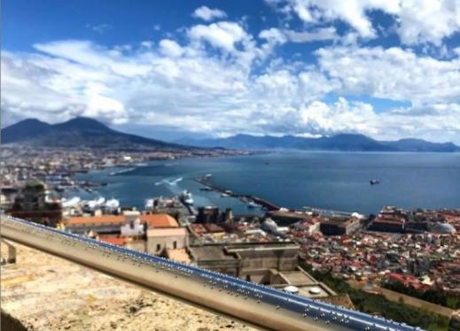 A handrail embossed in braille which includes a poetic description of a sweeping view of the Italian City of Napoli
