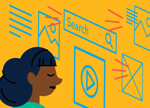 An illustration of a girl looking at online icons.