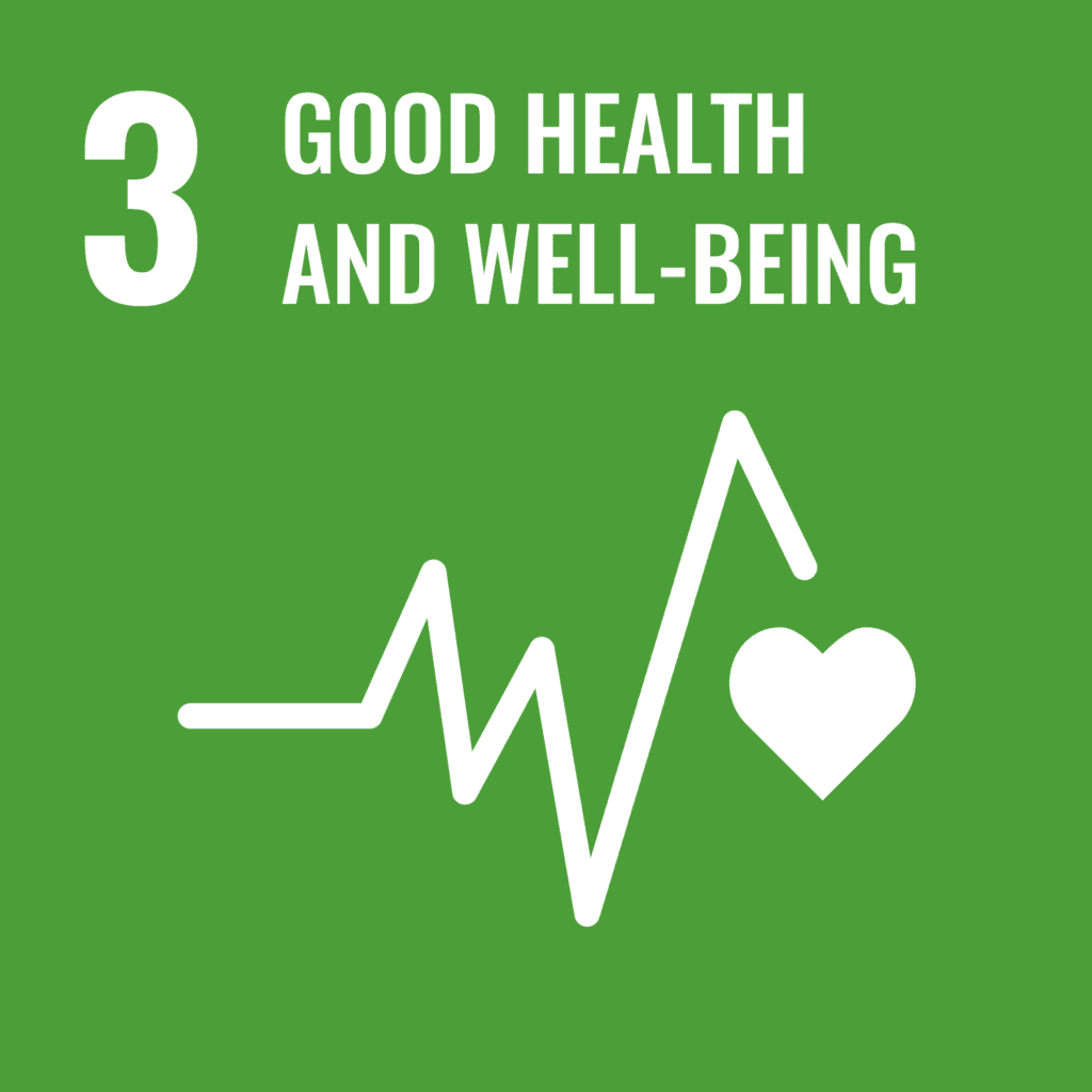 SDG 3 logo. Good health and well-being. Heartbeat icon