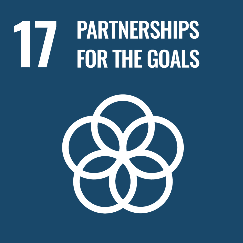 SDG 17 logo. Partnerships for the Goals. Intersecting rings icon.