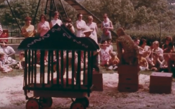 Film still showing students performing in circus